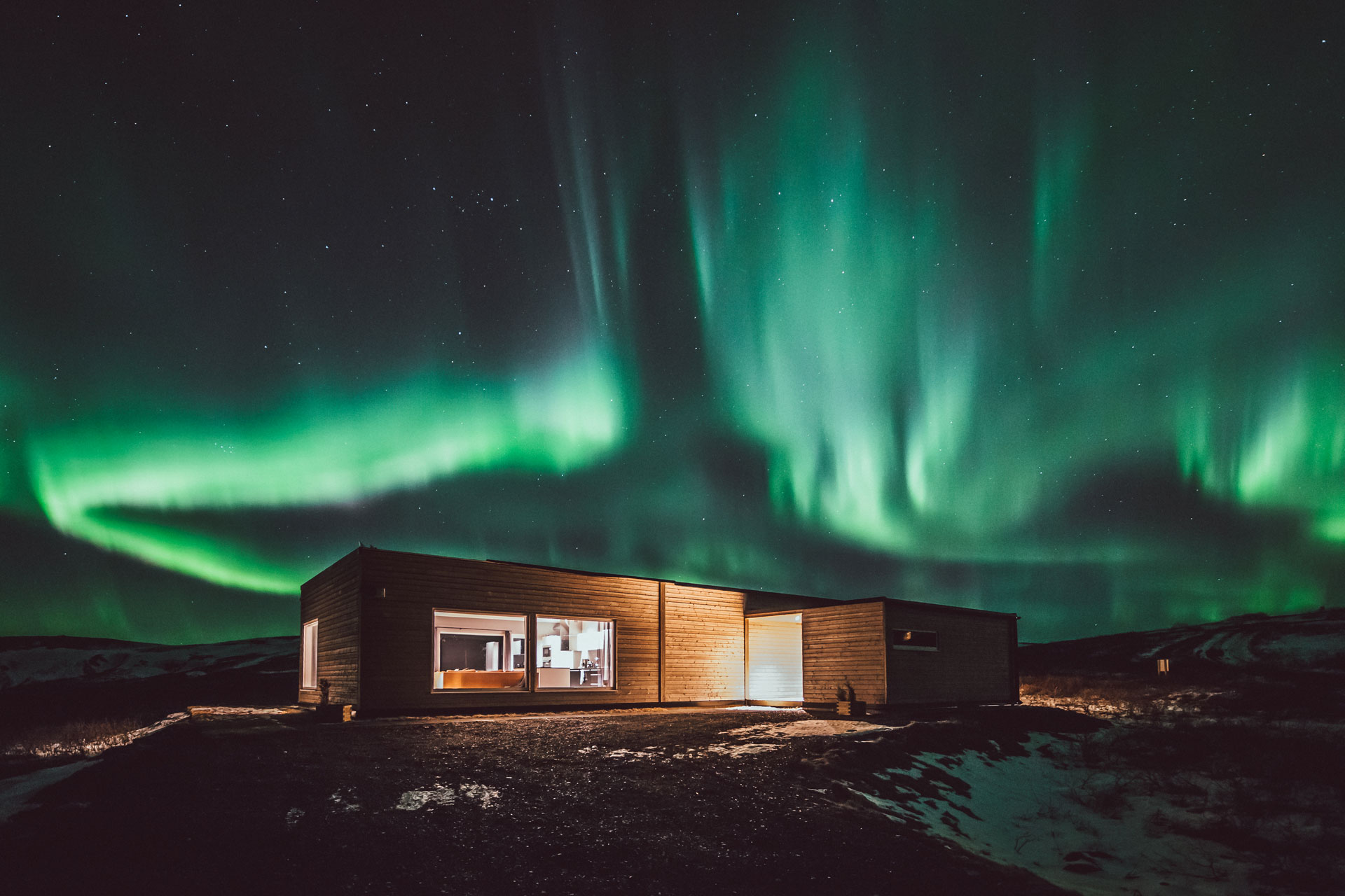 Aurora Borealis in hrifunes nature park hotel south iceland