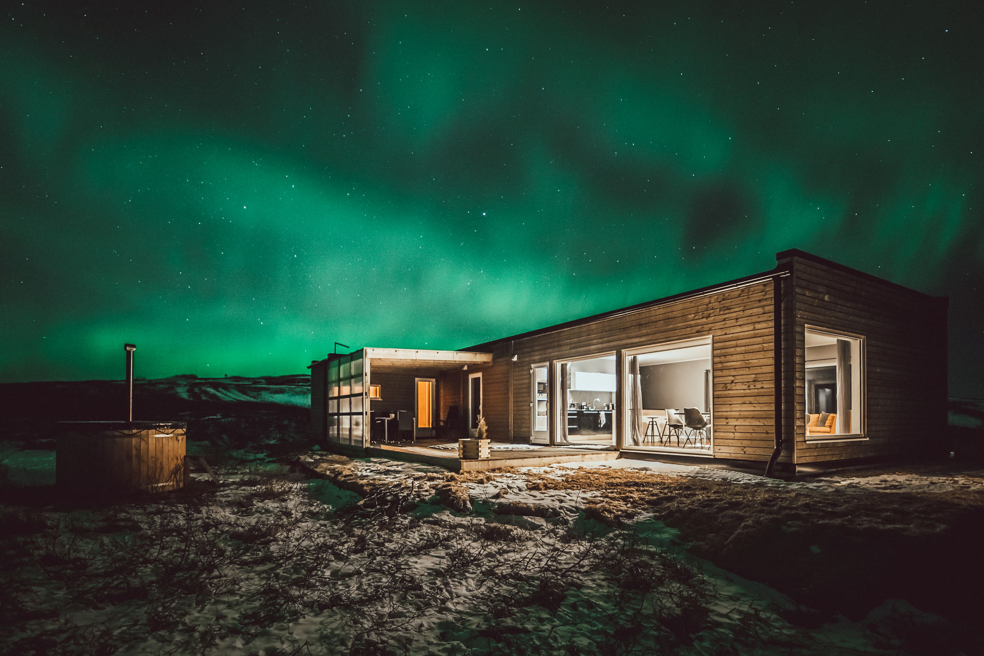 Northern lights in hrifunes nature park cabins