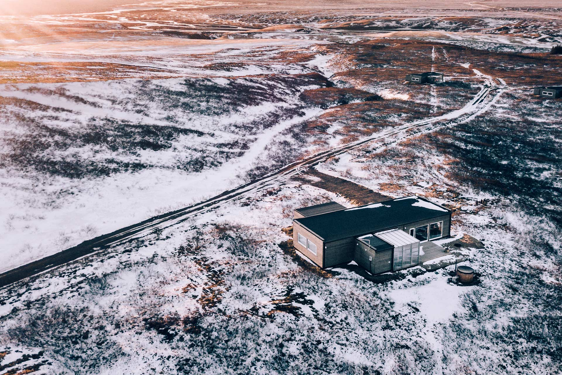 An aerial view of the hrifunes nature park cabins in the south of iceland